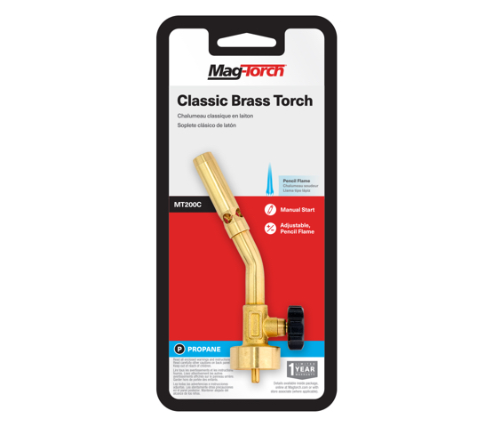 Mag-Torch MT200C Classic Brass torch in packaging