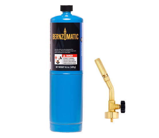 Mag-Torch MT200 Classic Brass Torch with Bernzomatic propane cylinder