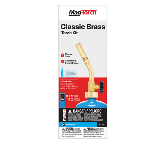 Mag-Torch MT200C Classic Brass Torch Kit in packaging