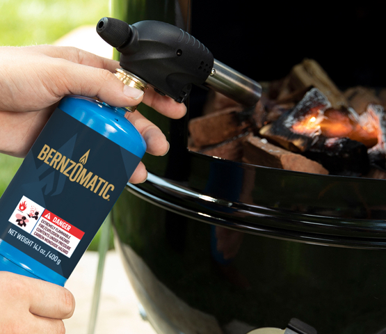 Mag-Torch MT531C All-Purpose Torch with Bernzomatic Propane Cylinder being used to light a grill