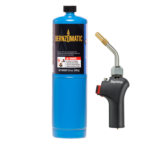 MT565 torch with blue bernzomatic fuel cylinder