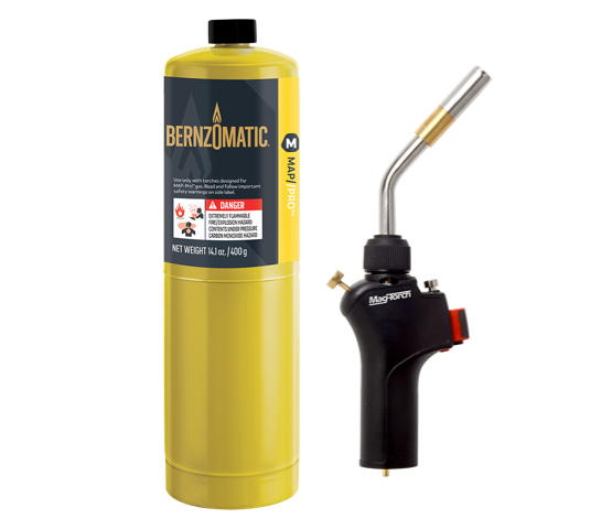 Mag-Torch MT579PRO On-Demand PRO torch and Bernzomatic Map PRO fuel cylinder