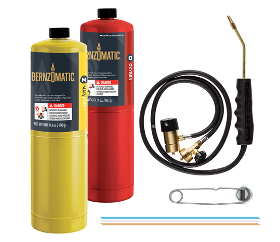 MT585OX torch kit items with Map Pro and Oxygen cylinders