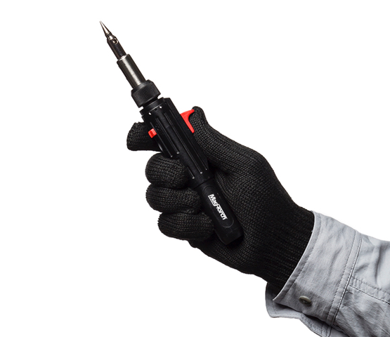Person with black glove holding a Mag-Torch MT790 torch